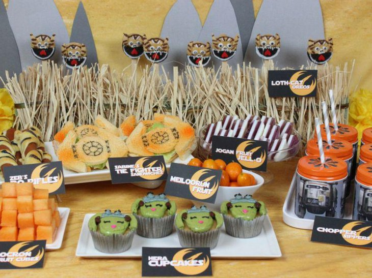 Scrumptious Star Wars buffet table for birthday party