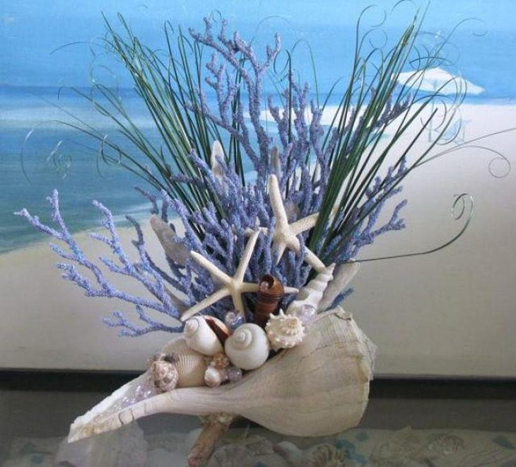 Seashell coral wedding table centerpiece