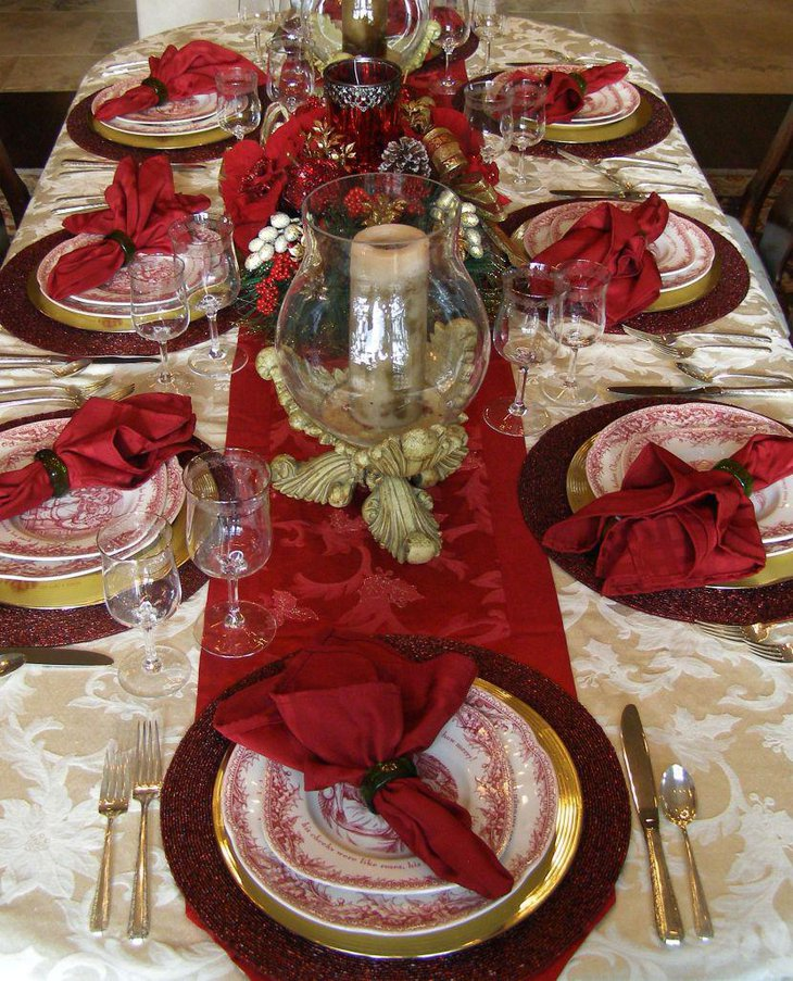 Sensational red Thanksgiving table runner