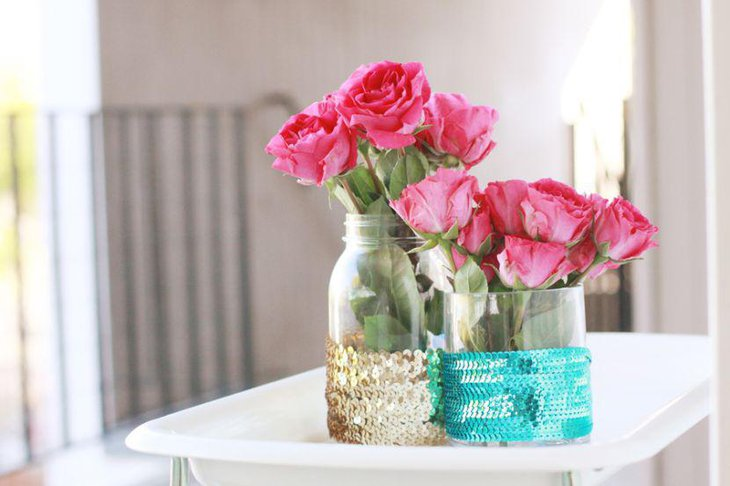Sequined spring vase table centerpiece