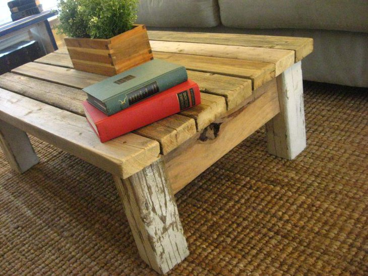 Shabby chic DIY rustic coffee table
