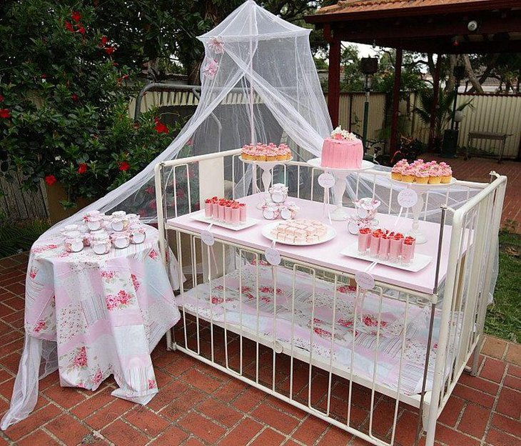Shabby chic garden themed baby girl shower decorations