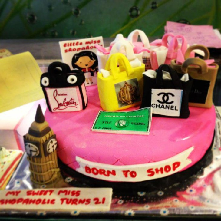 Shopping theme birthday cake