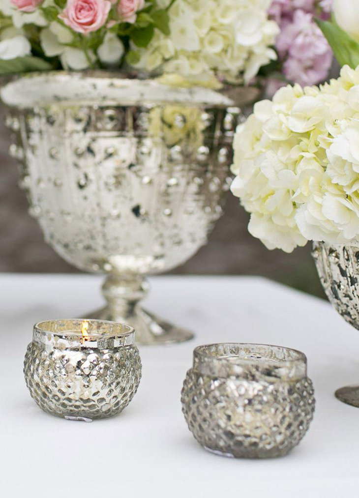 Silver mercury glass candle holders for wedding table