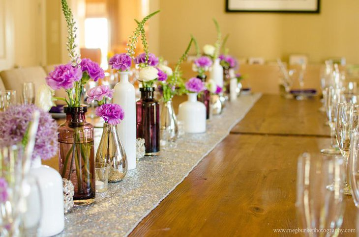 Silver Sequin Table Runner for Bridal Shower