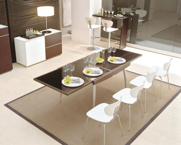 Silver Stainless Steel Expandable Dining Table With Brown Stainless Steel Frame Glass Table Top