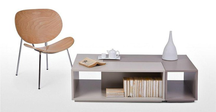 Simple and light modular coffee table with storage space