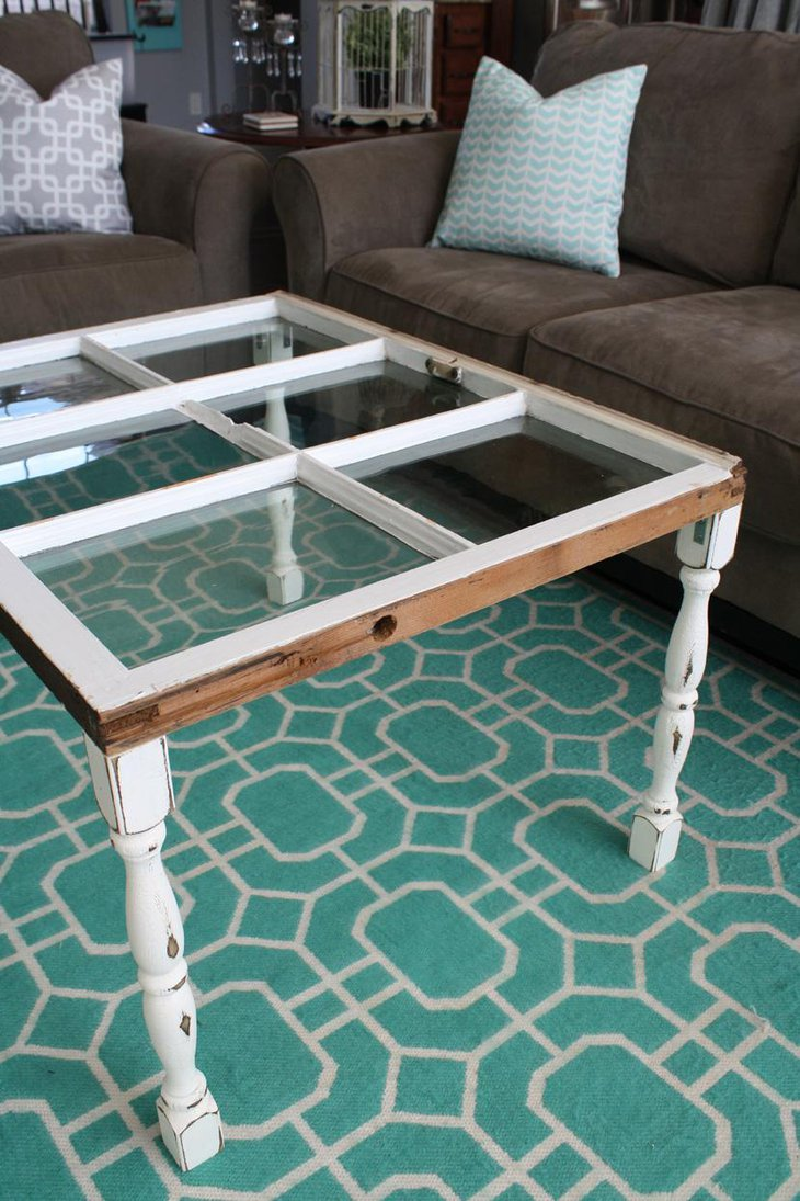Simple Reconstructed DIY Window Coffee Table