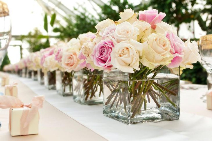 Simple Rose Flower Centerpiece for Bridal Shower