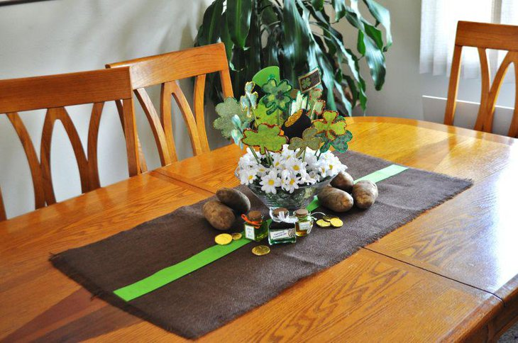 Simple St Patricks Day decoration on naked wood table