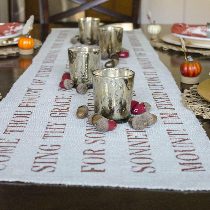 Simple stenciled Thanksgiving table runner