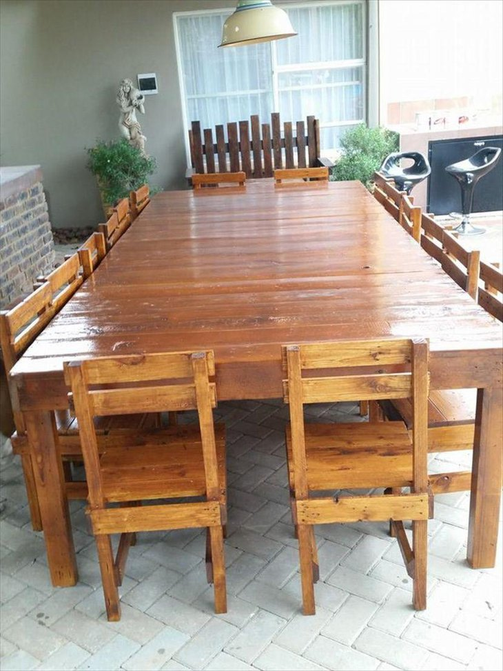 Sixteen Seater DIY Pallet Dining Table Set