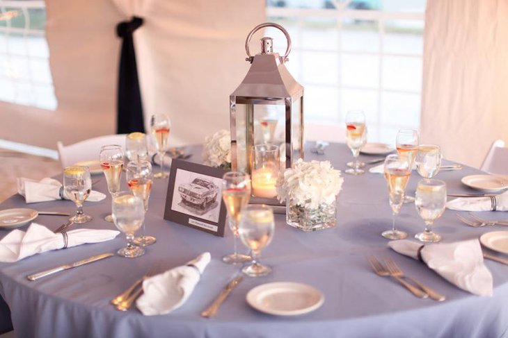 Sleek Lantern Bridal Shower Centerpiece