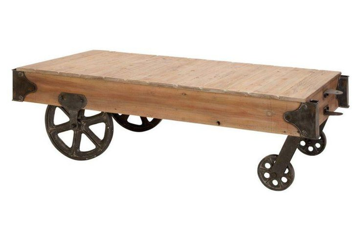 Sleek rustic coffee table with wheels