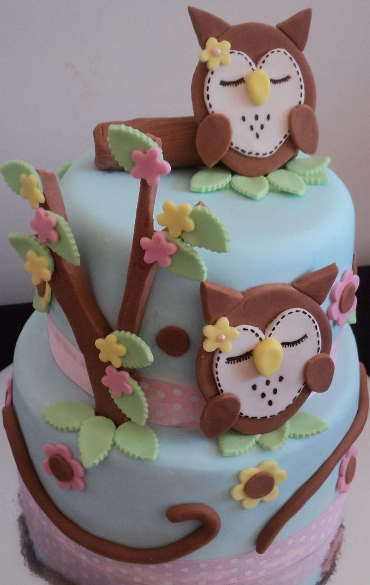 Sleeping owl cake centerpiece for baby shower