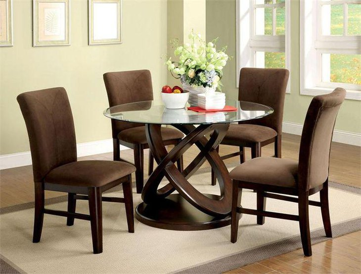 Small Glass Topped Wooden Dining Table Set