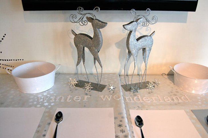 Snowflakes and silver reindeer decoration