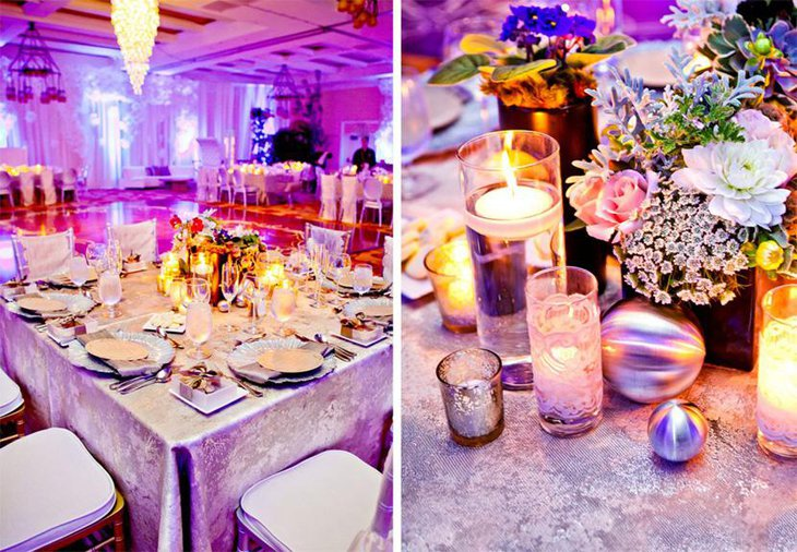 Sophisticated Purple Printed Table Linen