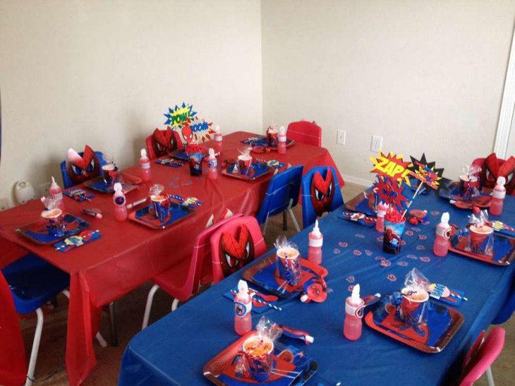 Spiderman birthday party table decoration for guests