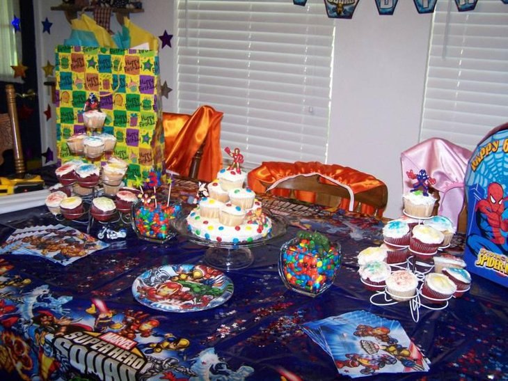 Spiderman Birthday Party Table With Cupcakes And Candies