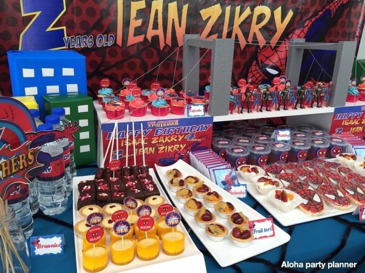 Spiderman Themed Birthday Party Dessert Table