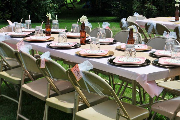 Splendid guest table setup for summer garden party