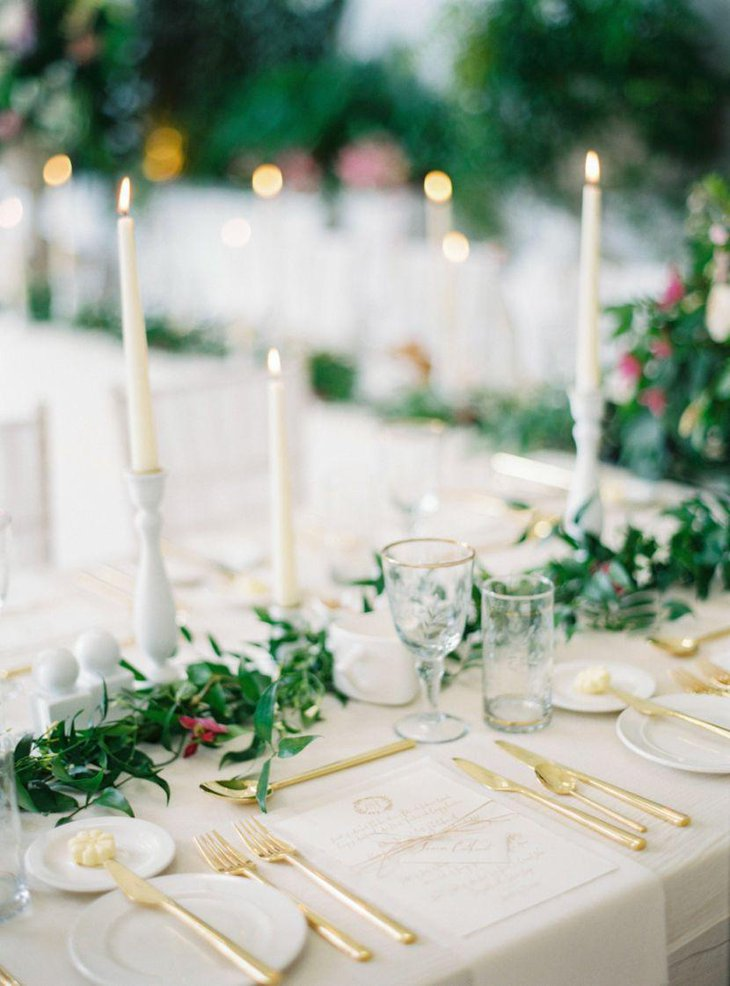 Spring table decor with candles
