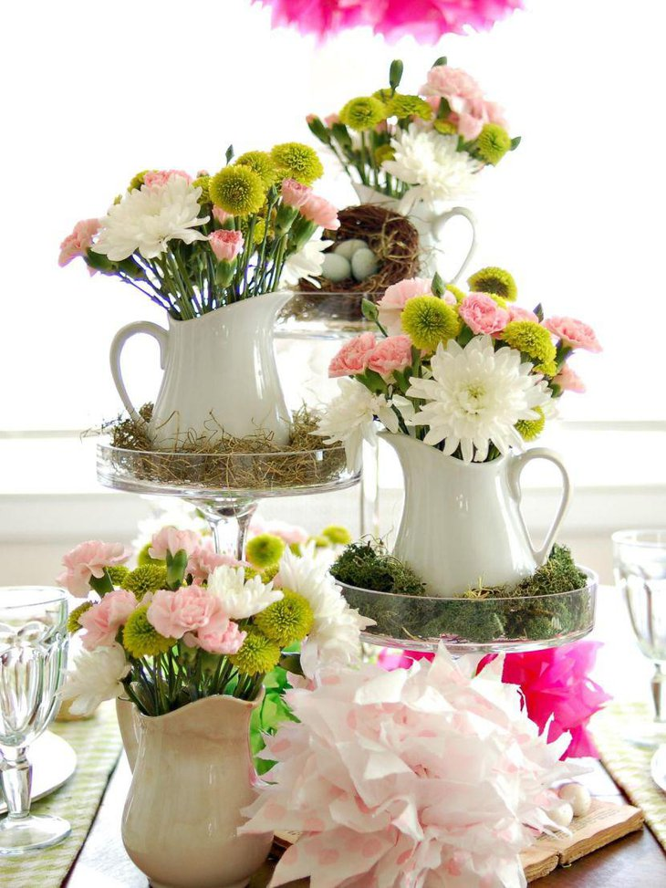 Spring table setting with fresh flowers