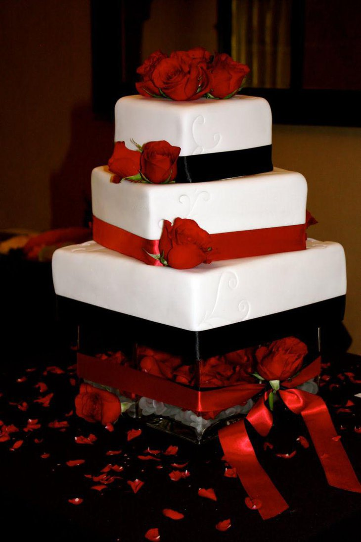 Square Red And White Wedding Cake