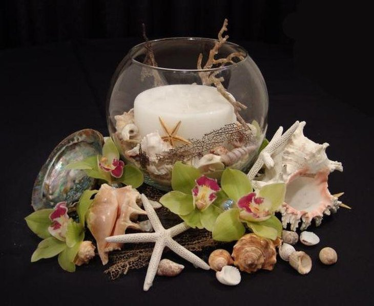 Star fish and shell table centerpiece for a beach theme wedding