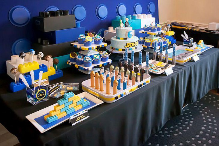 Star Wars Themed Lego Lightsabers As Party Table Decorations