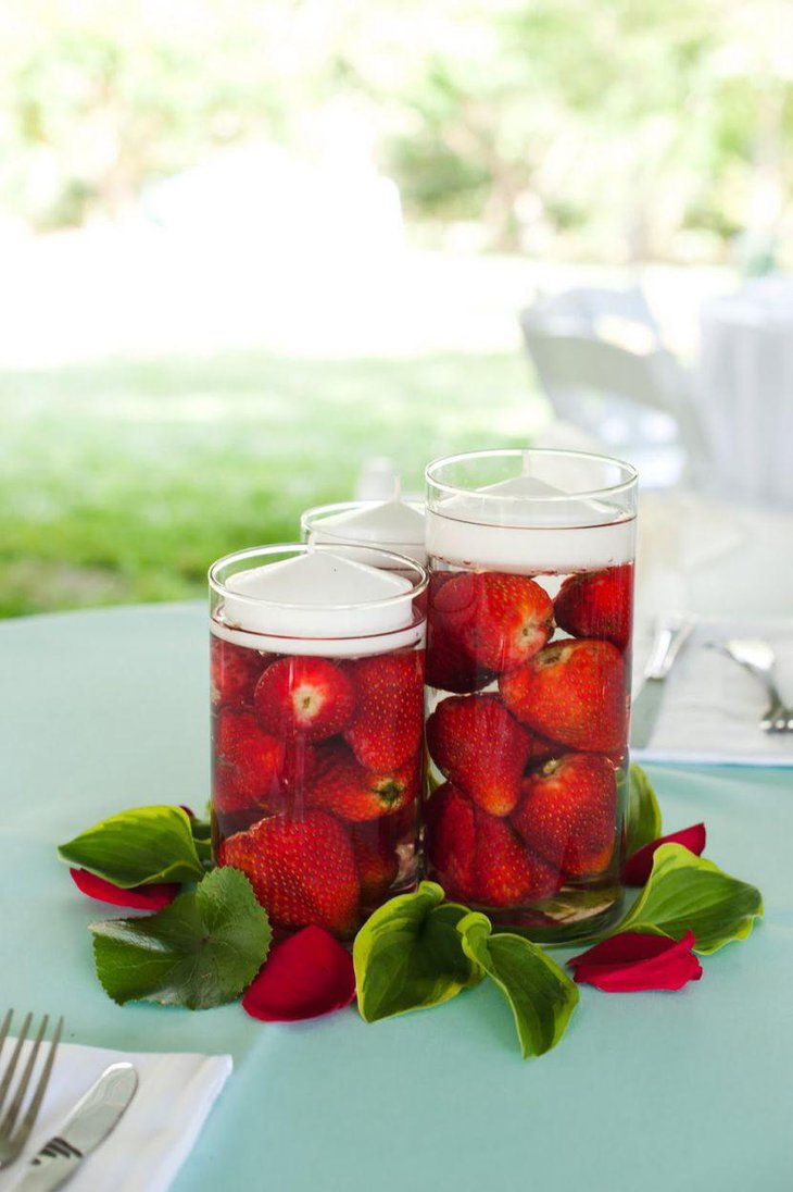 Strawberry candle centerpiece for garden wedding table decor