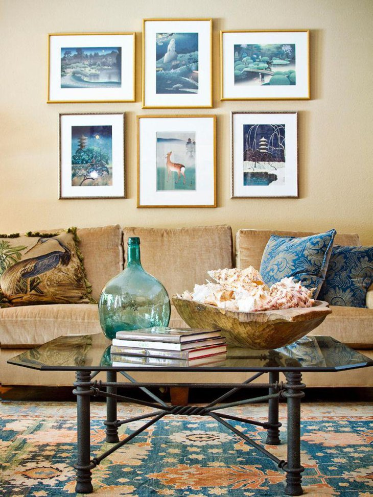 Stunning beach inspired coffee table decor with a basket full of shells