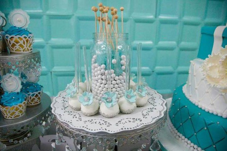 Stunning blue and silver brithday candy table
