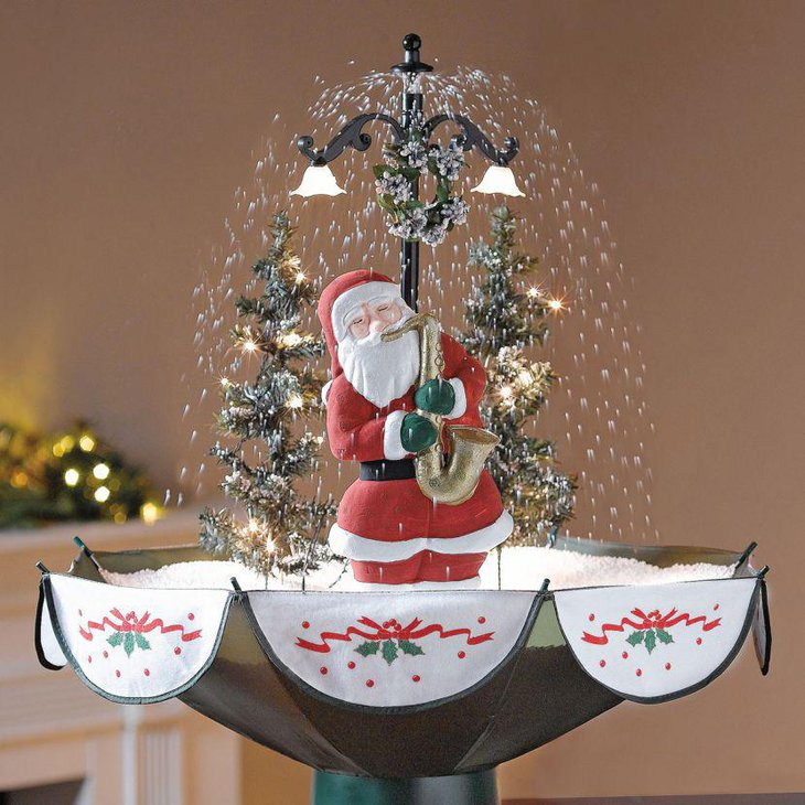 Stunning Christmas Centerpiece Santa Standing Under A Fountain With Faux Snow