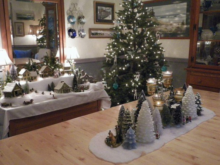Stunning Christmas Tree Collection With Faux Snow As Christmas Table Decor