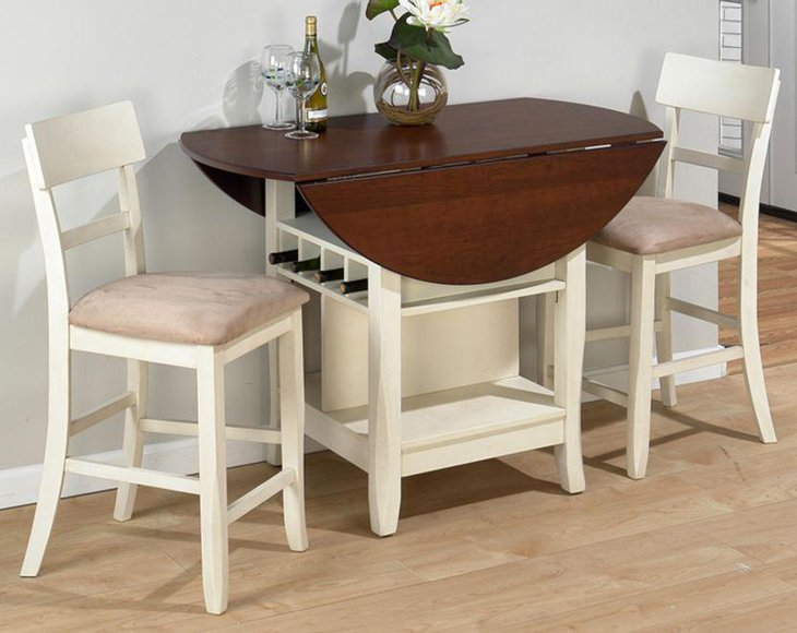 Stunning drop leaf dining table set with wine storage