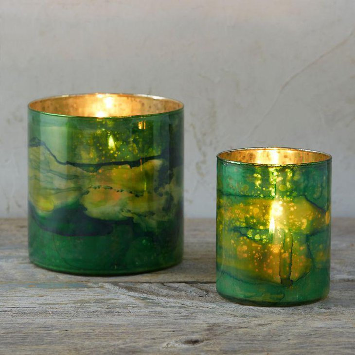 Stunning green candle holders for amazing St Patricks Day decoration