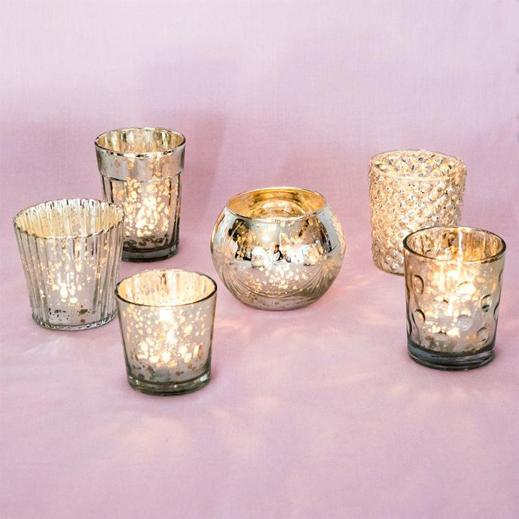 Stunning mercury glass candle holders for wedding table 3
