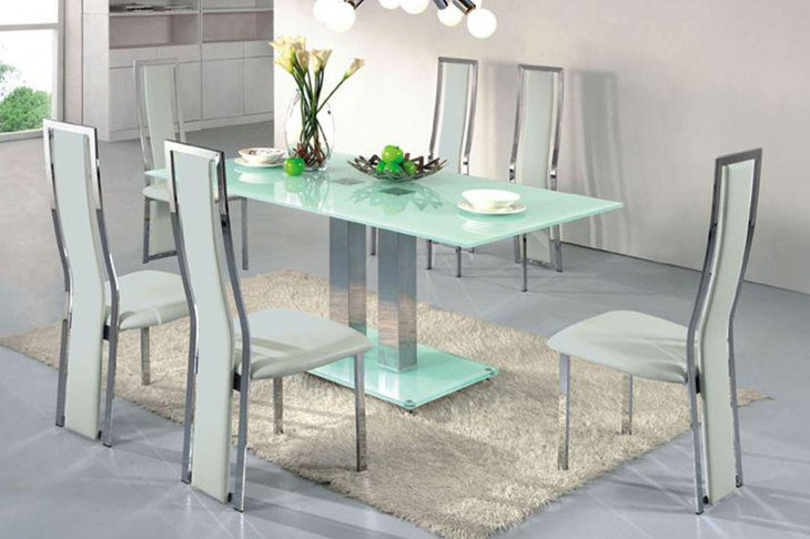 Stunning Modern Rectangular Glass Dining Room Table Set