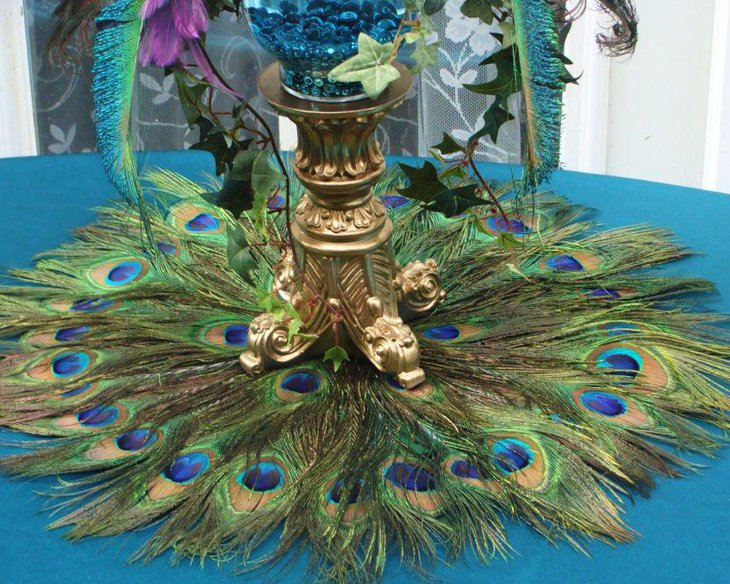 Stunning peacock feather decor