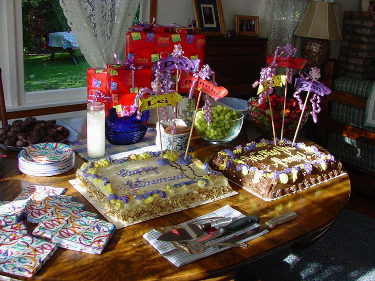 Stunning retirement table with cakes