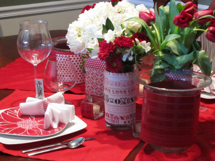 Stunning Valentines Table decor with white roses and red tulips