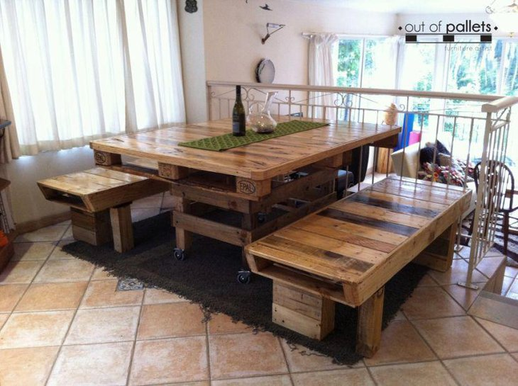 Stylish And Easy To Make DIY Pallet Dining Table Benches