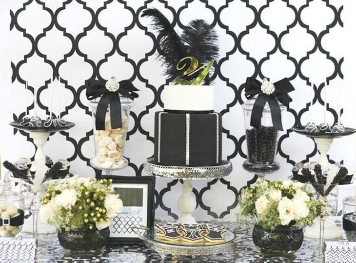 Stylish Black And White Themed Adult Birthday Table Decor