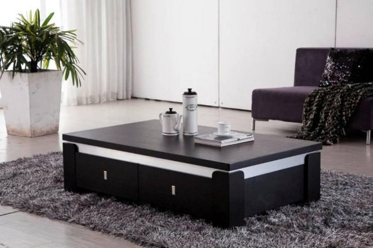 Stylish Black Coffee Table with Drawers