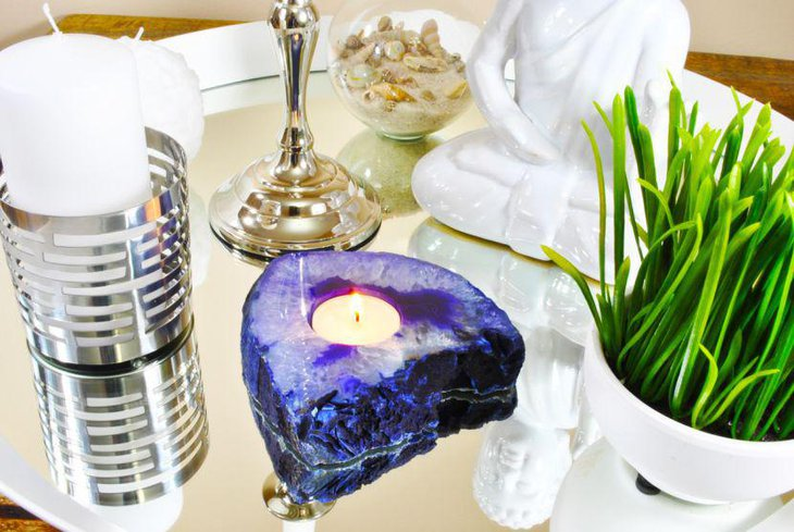 Stylish purple candle holder for party table