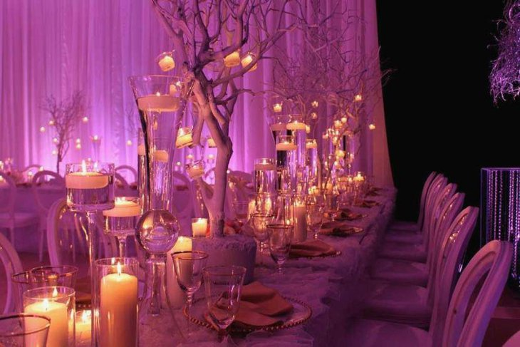 Stylish purple themed winter wedding tablescape