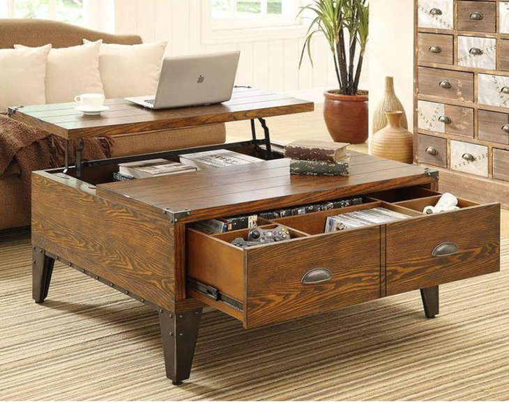 Stylish rustic coffee table with under storage and drawers