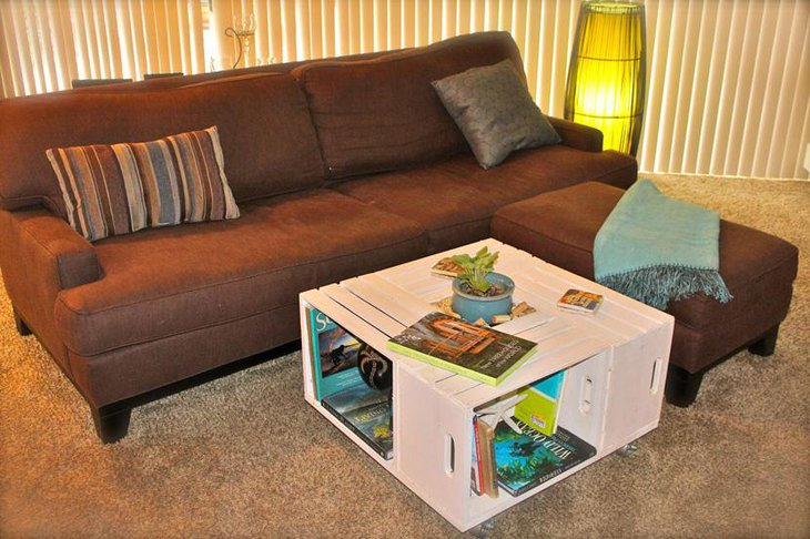 Stylish Square Wine Crate DIY Coffee Table